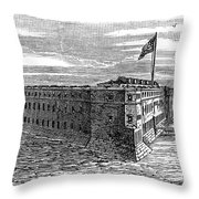 1800s 1860s View Of Fort Taylor Key Throw Pillow