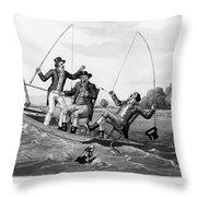 1800s Three 19th Century Men In Boat Throw Pillow