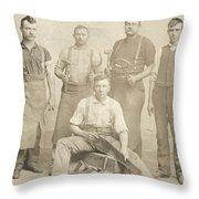 1800's Vintage Photo Of Blacksmiths Throw Pillow
