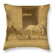 1800's Vintage Photo Of Horse Drawn Carriage Throw Pillow