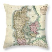 1801 Cary Map Of Denmark Throw Pillow