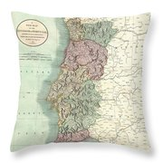 1801 Cary Map Of Portugal Throw Pillow