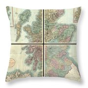1801 Cary Map Of Scotland  Throw Pillow
