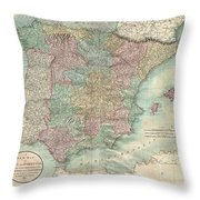 1801 Cary Map Of Spain And Portugal Throw Pillow