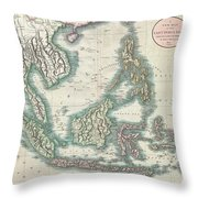 1801 Cary Map Of The East Indies And Southeast Asia  Singapore Borneo Sumatra Java Philippines Throw Pillow