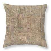 1802 Chez Jean Map Of Paris In 12 Municipalities France Throw Pillow