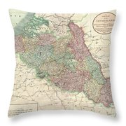 1804 Cary Map Of Belgium And Luxembourg Throw Pillow