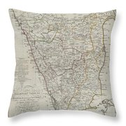 1804 German Edition Of The Rennel Map Of India Throw Pillow