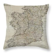 1804 Jeffreys And Kitchin Map Of Ireland Throw Pillow