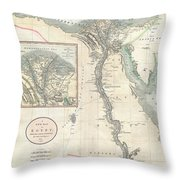 1805 Cary Map Of Egypt Throw Pillow