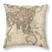 1806 Cary Map Of Asia Polynesia And Australia Throw Pillow