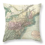 1806 Cary Map Of New England New York Pennsylvania New Jersey And Virginia Throw Pillow