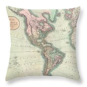 1806 Cary Map Of The Western Hemisphere  North America And South America Throw Pillow