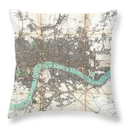 1806 Mogg Pocket Or Case Map Of London Throw Pillow