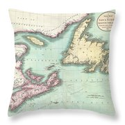 1807 Cary Map Of Nova Scotia And Newfoundland Throw Pillow