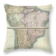 1807 Cary Map Of South America Throw Pillow