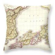 1809 Pinkerton Map Of Korea And Japan Throw Pillow