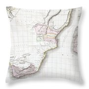 1809 Pinkerton Map Of Southern Africa Throw Pillow