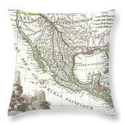 1810 Tardieu Map Of Mexico Texas And California Throw Pillow