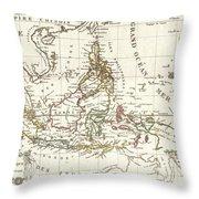 1810 Tardieu Map Of The East Indies Singapore Southeast Asia Sumatra Borneo Java Throw Pillow