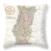 1811 Cary Map Of The Kingdom Of Portugal Throw Pillow