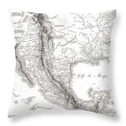 1811 Humboldt Map Of Mexico Texas Louisiana And Florida Throw Pillow