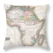 1813 Thomson Map Of Africa Throw Pillow