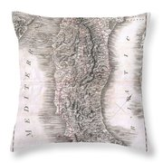 1814 Rizzi Zannoni Map Of Italy Throw Pillow