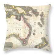 1814 Thomson Map Of Australia New Zealand And New Guinea Throw Pillow