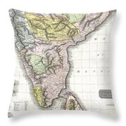 1814 Thomson Map Of India Throw Pillow