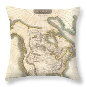 1814 Thomson Map Of North America Throw Pillow