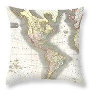 1814 Thomson Map Of North And South America Throw Pillow