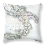 1814 Thomson Map Of Southern Italy Throw Pillow