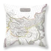 1814 Thomson Map Of Tartary  Mongolia Tibet Throw Pillow