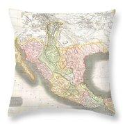 1814 Thomson Map Of Texas Mexico  Louisiana Throw Pillow