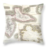 1815 Thomson Map Of Guadaloupe Antigua Marie Galante  West Indies Throw Pillow