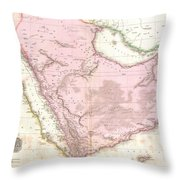 1818 Pinkerton Map Of Arabia And The Persian Gulf Throw Pillow