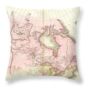 1818 Pinkerton Map Of British North America Or Canada Throw Pillow