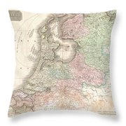 1818 Pinkerton Map Of Holland Or The Netherlands Throw Pillow