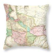 1818 Pinkerton Map Of Persia  Throw Pillow