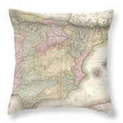 1818 Pinkerton Map Of Spain And Portugal Throw Pillow