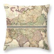 1820 Lizars Wall Map Of Asia Throw Pillow