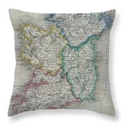 1822 Butler Map Of Ireland Throw Pillow