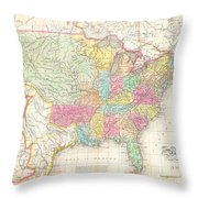1823 Melish Map Of The United States Of America Throw Pillow