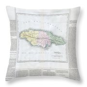 1825 Carez Map Of Jamaica  Throw Pillow