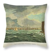 1825 Wall And Hill View Of New York City From The Hudson River Port Folio Throw Pillow