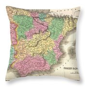 1827 Finely Map Of Spain And Portugal Throw Pillow