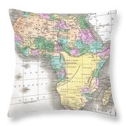 1827 Finley Map Of Africa Throw Pillow
