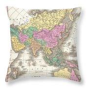 1827 Finley Map Of Asia And Australia Throw Pillow