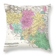 1827 Finley Map Of Belgium And Luxembourg Throw Pillow